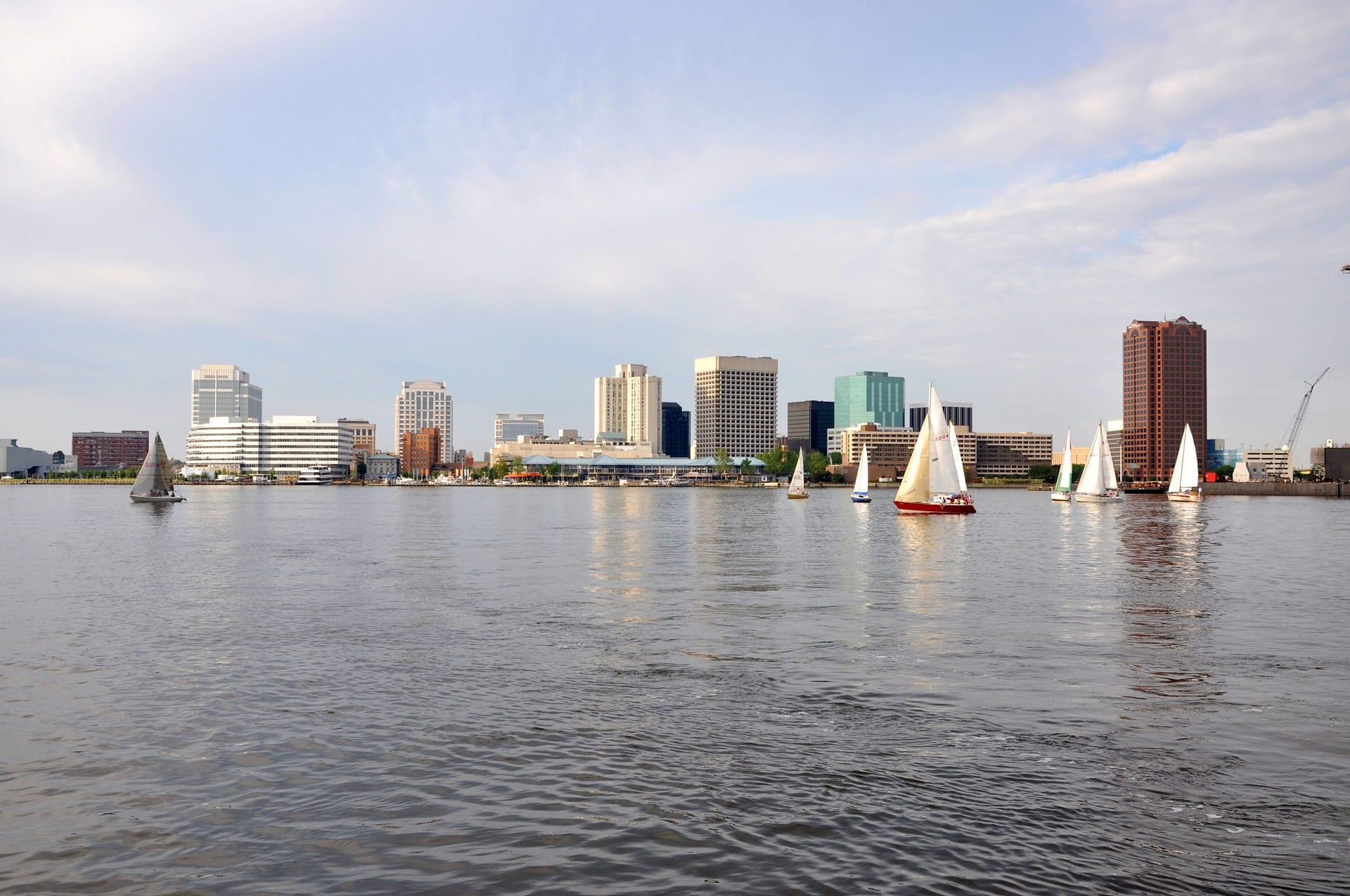 Norfolk city skyline and Elizabeth River, Virginia, USA